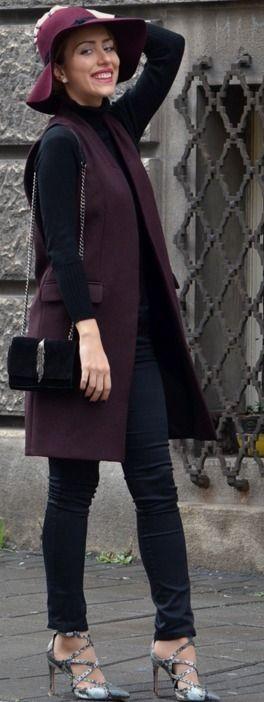 Burgunfy Hat and Vest | Stasha Fashion #burgunfy