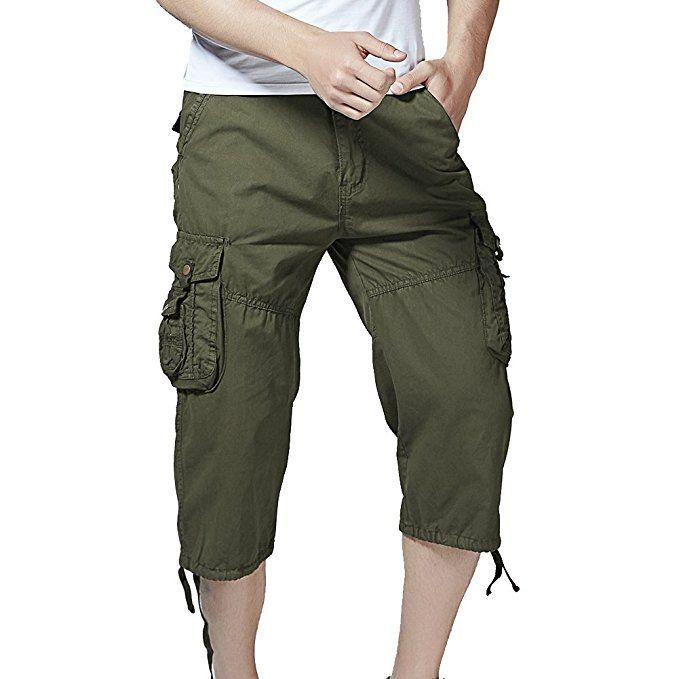 Mens Bermuda Cargo Shorts Stretch Jeans Look Short Capri Pants Summer Vintage