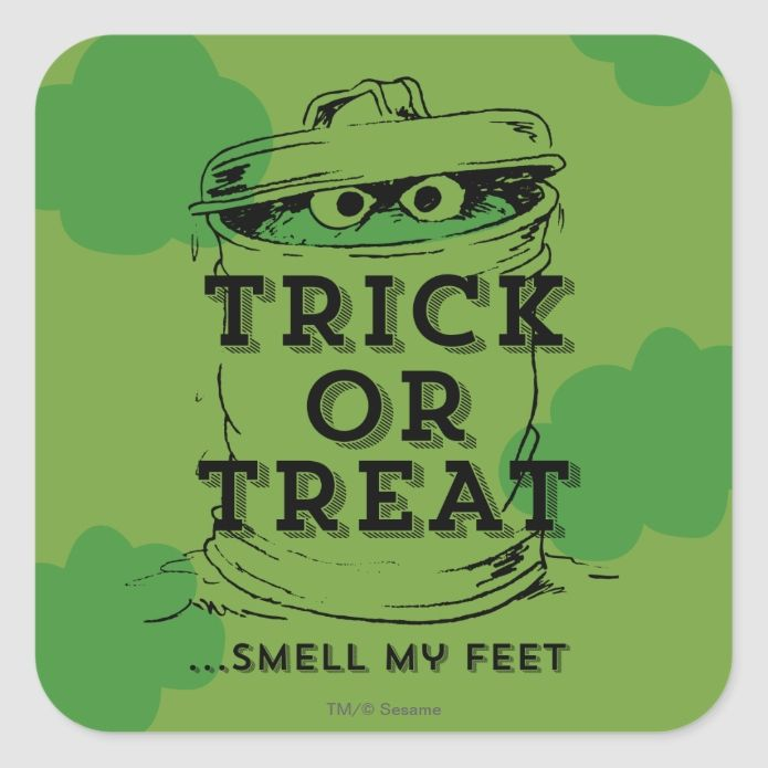 Oscar The Grouch Smell My Feet Square Sticker Zazzle Com Grouch Oscar The Grouch Custom Holiday Card
