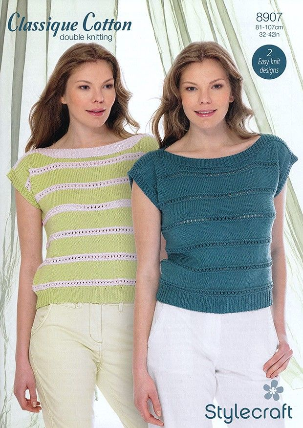 Ladies Tops In Stylecraft Classique Cotton DK (8907) | Womens Knitting Patterns | Knitting Patterns | Deramores