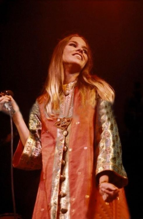 michelle phillips onstage at the monterey pop festival, 1967.