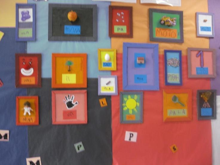 El museu de les paraules: Cada quadre és la paraula escrita per un infant.  Els objectes es poden substituir per produccions plàstiques fetes pels infants.
