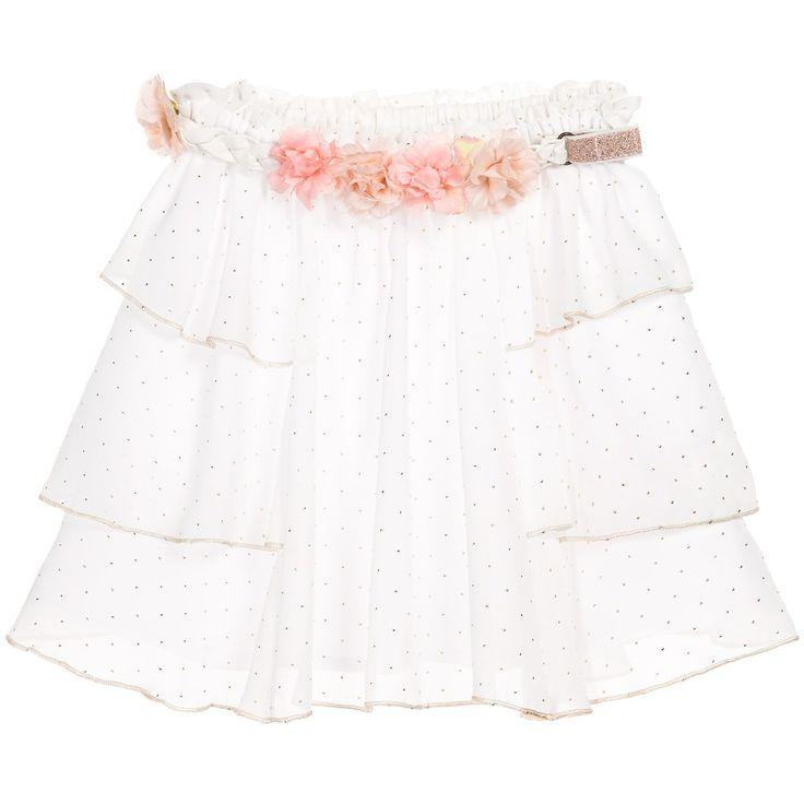 SPRING SUMMER 2016 Carrément Beau White & Gold Spot Chiffon Skirt with Floral Belt at Childrensalon.com