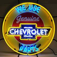 Chevrolet Parts Neon Sign - Silkscreen Backing