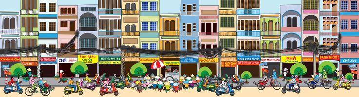 Mural I designed for pho restaurant: 36 feet wide x 10 feet tall Saigon street food mural.
