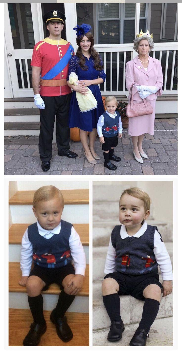 The Royal Family group Halloween costume - Prince William, Kate Middleton, Prince George, and Queen Elizabeth.