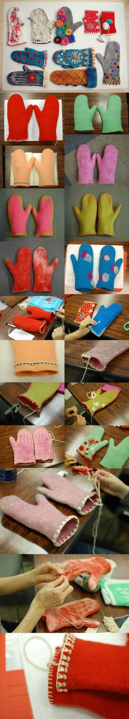 DIY simple non-woven gloves I just love this and plan to do it in class!