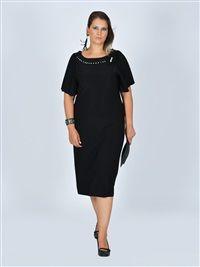 Nidya Moda büyük beden Aksesuarlı Sandy  Elbise-4026S