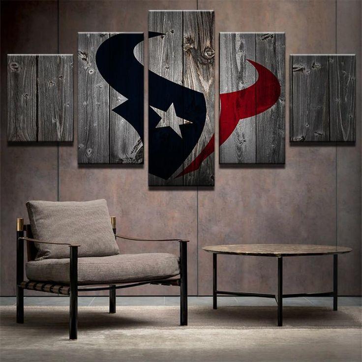 Houston Texans Football Canvas Barnwood Style