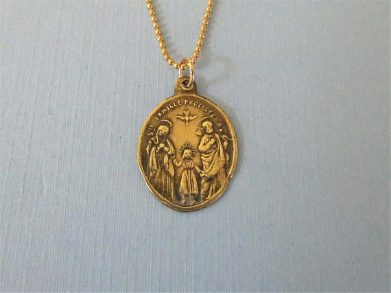 Antique Gold Holy Family Protection Medal  Holy Spirit