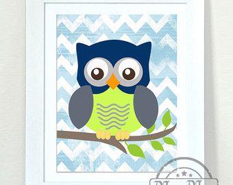 Nursery Owl Print wall art Girls Owl Nursery Art by MuralMAX
