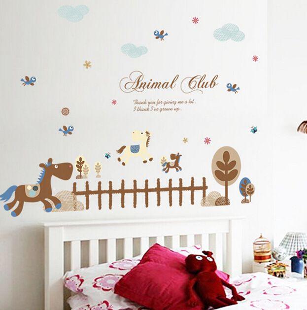 Горячий Стиль Пони Стены Столб Детский сад Детская Комната Украшена Декоративные Наклейки Обойный клей На Английском Языке