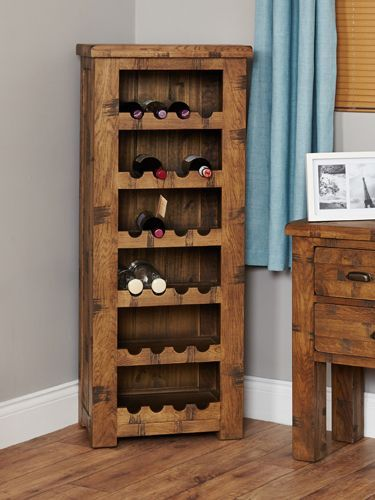 Rough Sawn Oak Tallboy Wine Rack #wood #oak #furniture #winerack #wine #home #interior #decor #livingroom #lounge #bedroom #hallway #dining #room