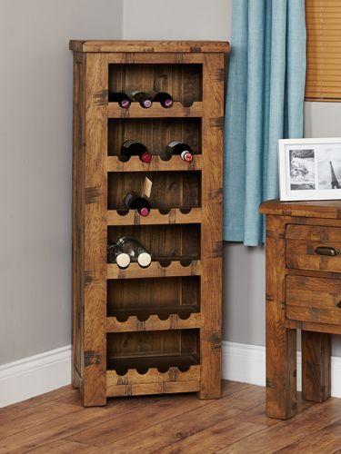 Rough Sawn Oak Tallboy Wine Rack #wood #oak #furniture #winerack #wine #home #interior #decor #livingroom #lounge #bedroom #hallway #dining #room