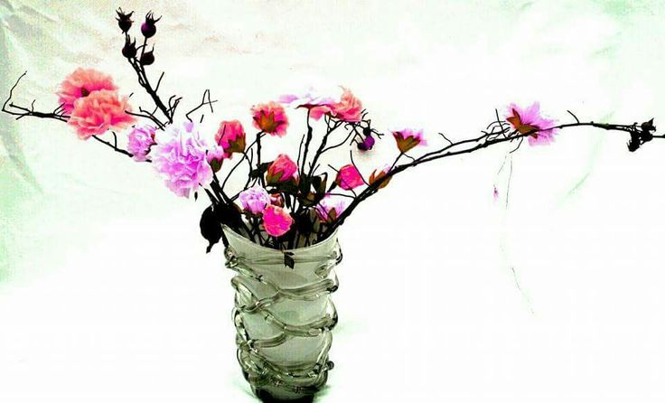Boeket van knop tot uitgebloeide bloem... home made flowers van servetjes