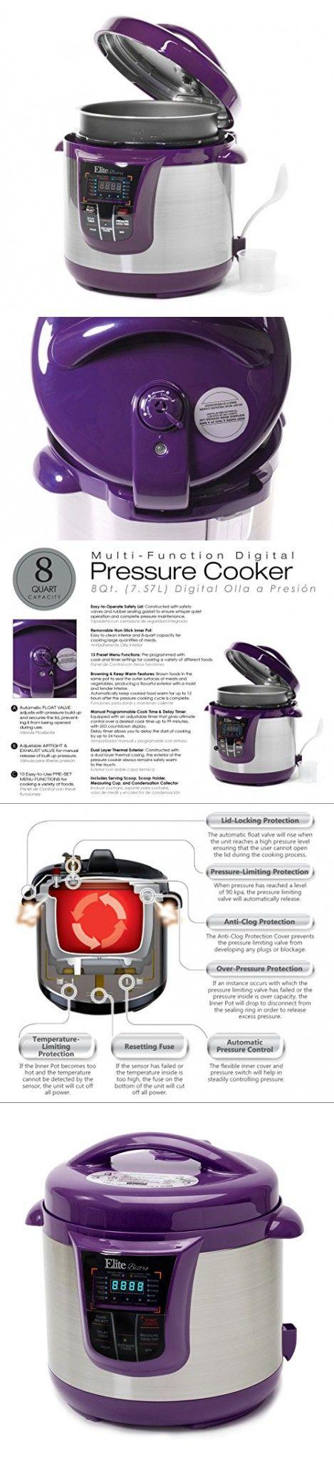 Elite Platinum EPC-808P Maxi-Matic 8 Quart Electric Pressure Cooker, Purple (Stainless Steel)