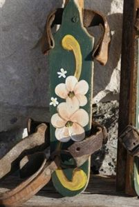 Antique Youth Ice Skates Holland Artisan Hand Painted Flowers