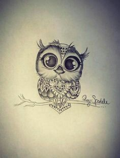 #Chouette #Hibou Je ne ferais p.e. pas tatouer un hibou, mais trop mignon!