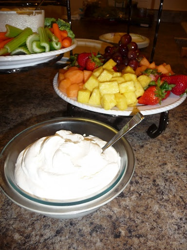 Fruit Dip.  Only 2 ingredients!  Cream cheese and marshmallow creme. This stuff is AMAZING!!