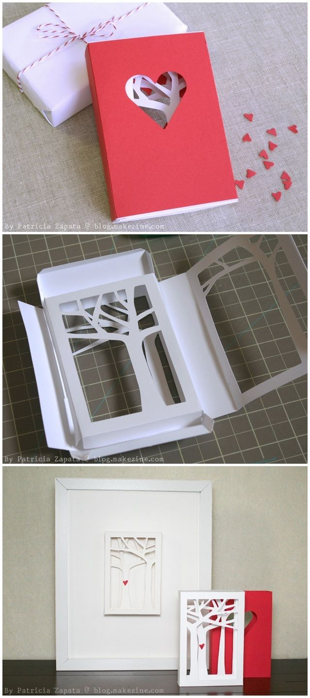 ~ Beautiful paper craft ~ How-To & Template : Valentine's Day Matchbook Card By Patricia Zapata via blog.makezine