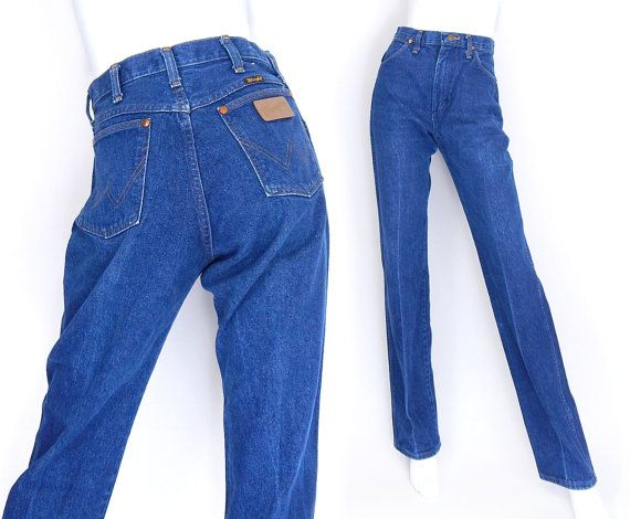 Sz 8 L High Waisted Wrangler Mom Jeans - 80s Vintage Straight Leg Faded Indigo Blue Tall Women's Jeans - Wranglers Denim Cowgirl Dungarees