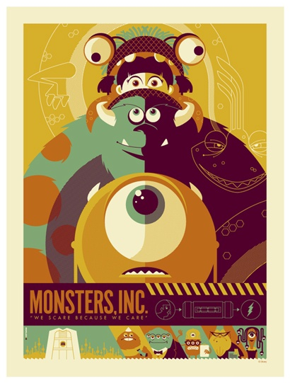 BOND: Monsters, Inc. film poster This is such a sweet poster incorporating the bonds of the characters in the film. Each atop the other for the ultimate bonding experience. The color selection lends itself to a vintage feel. there is balance, unity, hierarchy and proximity. The look on Mike's face is priceless. The band across the bottom with type incorporated feels like it fits the mood and composition of the poster. It is a flawless design. I would expect any less from Disney.
