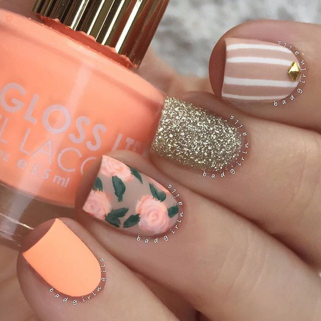 matte peach nails | nailart with stripes + flowers / roses + a glitter accent nail @badgirlnails