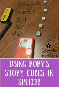 Using Rory's Story Cubes In Speech Therapy.  Build narratives with this fun, engaging, and easy to play game!