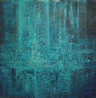 Himmelveien 80x80 cm. Akryl på 3D lerret m/ strukturer (mixed media).  Bildet går i fargene: Lys blå, himmelblå, turkis, sjøgrønn, lys- og mørk petrol, havblå, sotsvart.  For å se detaljer eller strukturer osv. i maleriet, kan du klikke opp bildet og bevege musepekeren over bildet.