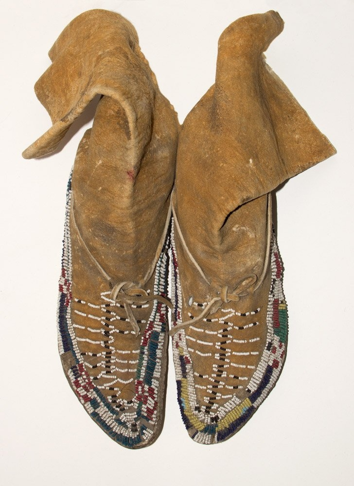 pair apache ladies moccasins 19th c leather and glass