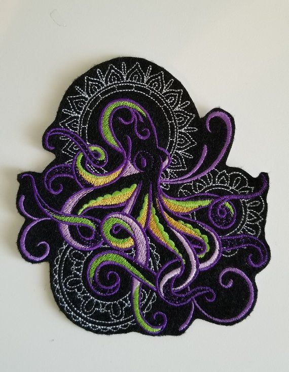Octopus Embroidered Patch - Under the sea patches - sea embroidery