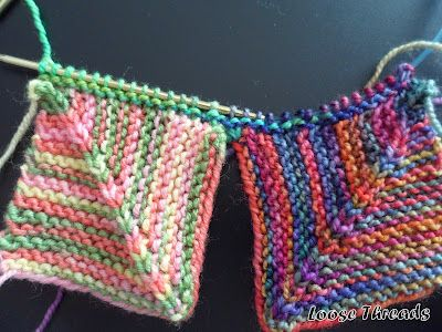 LOOSE THREADS: Knit Mitered Square Blanket - for leftover yarn (especially fingering/sock weight)