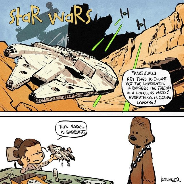 Brian Kesinger is back with even more cute Star Wars/Calvin and Hobbes mashups. These are the drawings we're looking for.