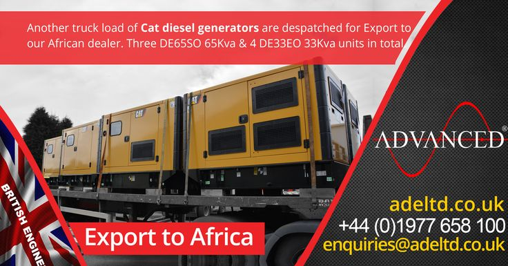 Exports to Africa.  Another #truck load of Cat diesel generators are dispatched for #Export to our #African dealer.  Three DE65SO 65Kva & 4 DE33EO 33Kva units in total.  Visit www.adeltd.co.uk for the best prices on Diesel Generators in the UK
