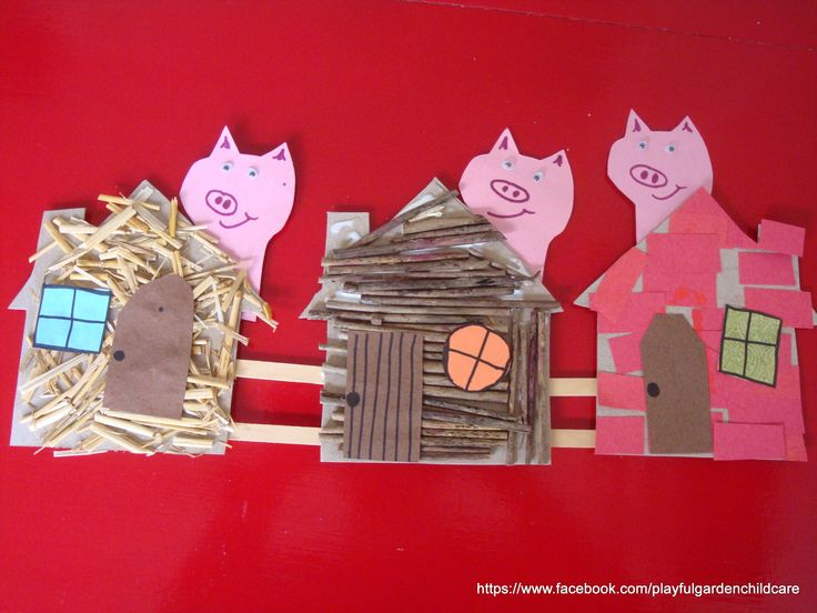 The three little pigs collage for fine motor, language and sensory experience. www.firstdoor.com.au