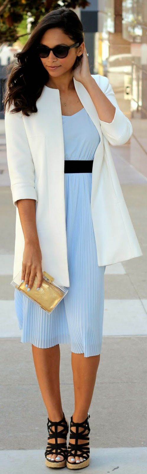 Zara Baby Blue Chiffon Black Waist Belt Pleated Skirt Midi Summer Dress