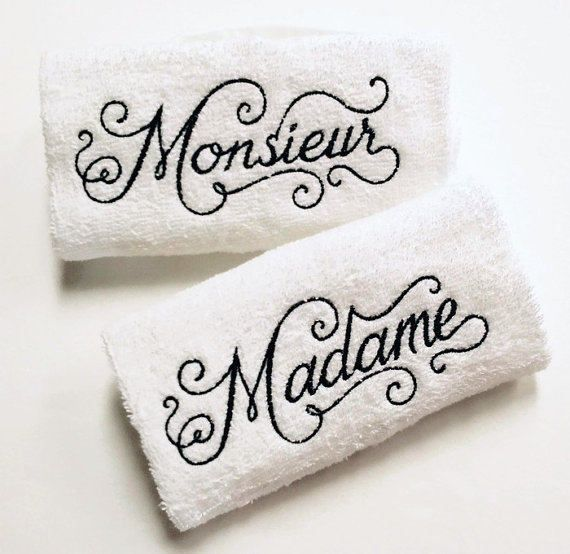 His & Her French Towel Set  Madame Monieur Towels  French