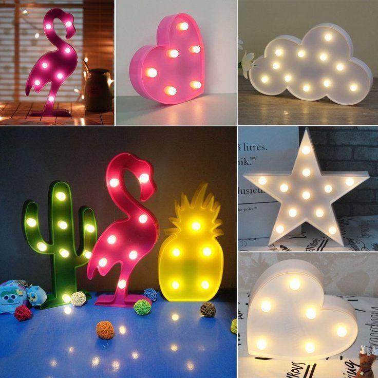 3d Led Night Lamp Kids Diy Animal Plant Light Bedroom Table Wall