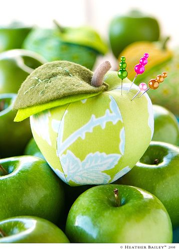 Green Apple Pincushion by *Heather Bailey*, via Flickr