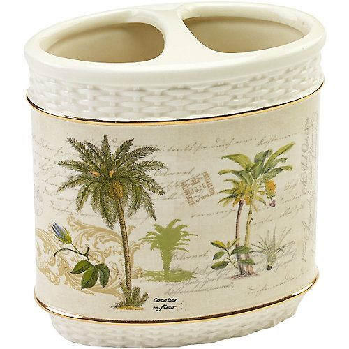 Avanti Colony Palm will add a tropical island vibe to your bathroom with the all over print of palm trees on an ivory background. Toothbrush holder features 2 openings at top and measures 4.1'' x 2.3'' x 4.3''.
