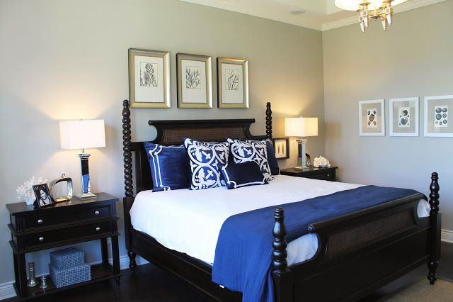 stunning coral beach bedroom | Beautiful model home tour. Master bedroom, neutral color ...