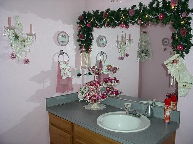 Pink Christmas Decor In Bathroom Pink Christmas