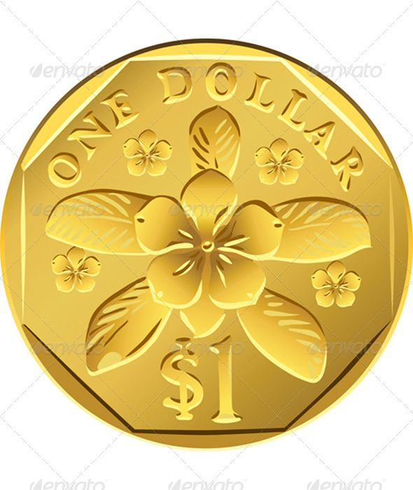 Singapore Money, coin one Dollar #GraphicRiver Vector Singapore Dollar coins of different metals: gold and aluminum bronze with the image of the flower pink katarantus. See dollar coins various countries in my portfolio: