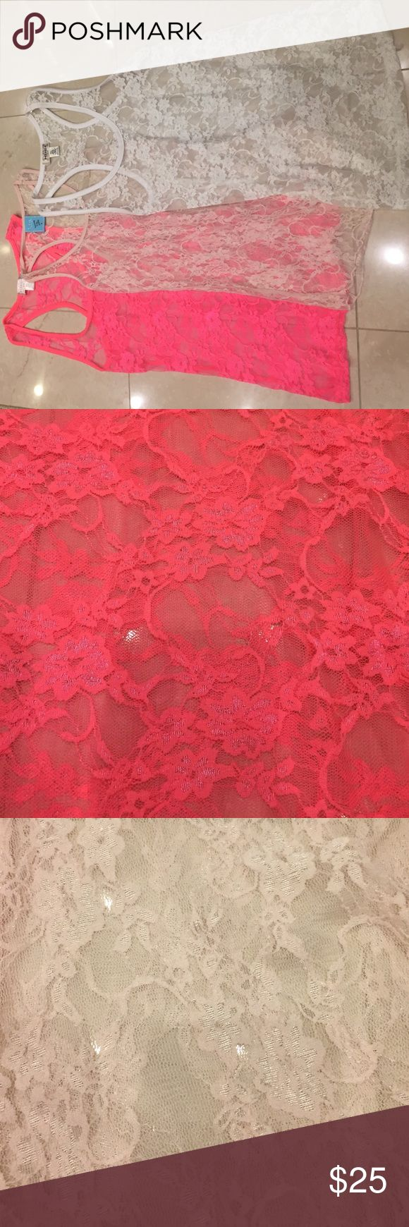 Lace tank tops Hot pink, blush, and white lace tank tops sold together or separately ($10 for 1 or $25 for all 3) Tops Tank Tops