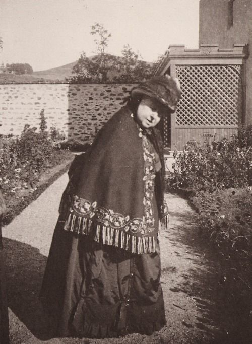 Queen Victoria turns round to see why her daughter-in-law has lagged behind, photograph by the Princess of Wales at Abergeldie, 1889
