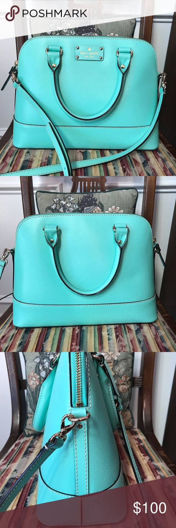Kat Spade Purse Robins egg blue purse. Crossbody strap included. No scratches or spots seen. Super cute for spring!!! Bought from Kate Spade outlet kate spade Bags Crossbody Bags