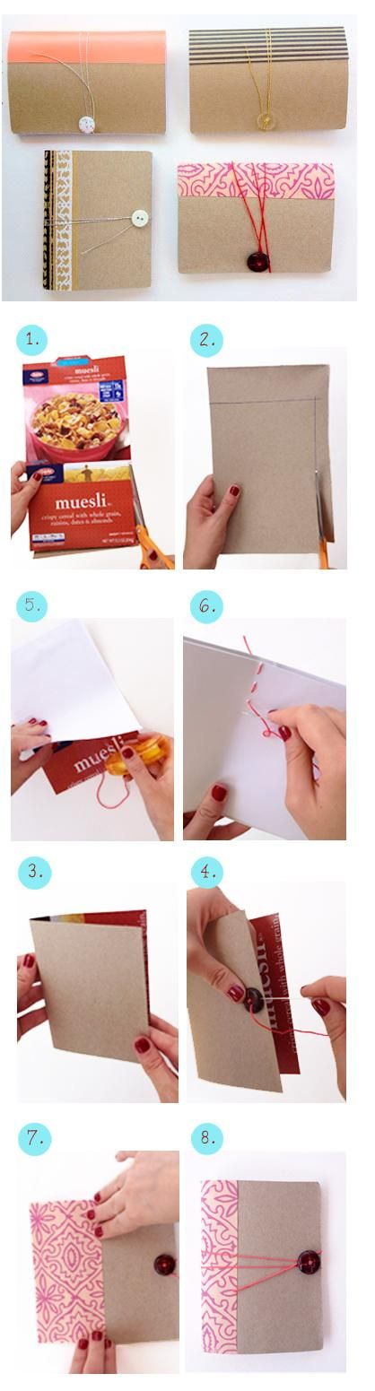 Make a mini notebook from a cereal box,  some paper, a button and a needle and thread. Stickers and other decorations optional.