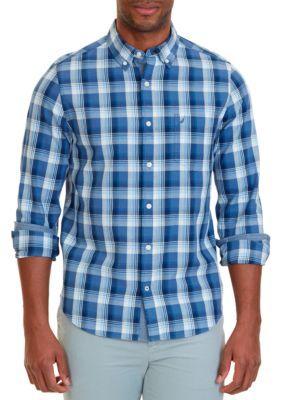 Nautica Men's Slim Fit Mist Plaid Shirt - Marine Blue - 2Xl