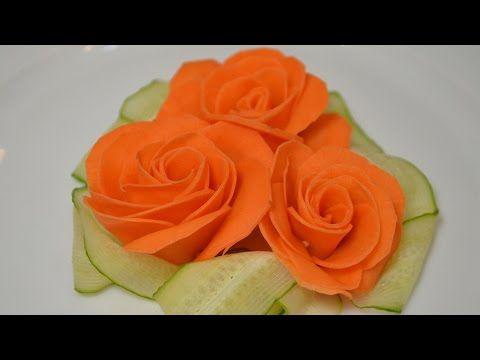 Украшение из овощей Роза из морковки - YouTube