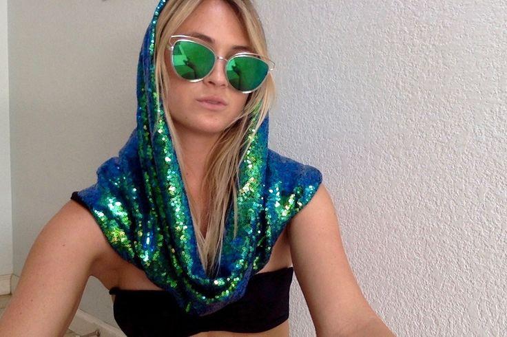 Blue/Green Iridescent Rave Hood by AMthreadz on Etsy https://www.etsy.com/listing/478375315/bluegreen-iridescent-rave-hood